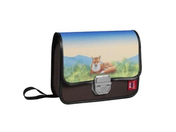 Kindergartentasche Bigbox Fuchs auf der Wiese, mit Schloss und Katzenauge, Innenfach, Platz für Brot