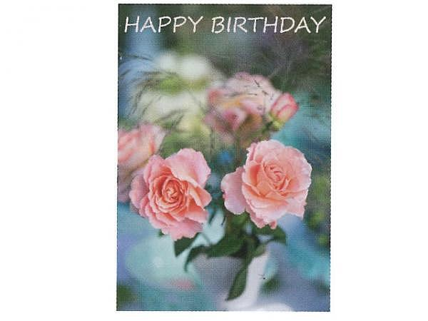 Geburtstagskarte Art Bula 12,2x17,5cm rosa Rosen in Vase