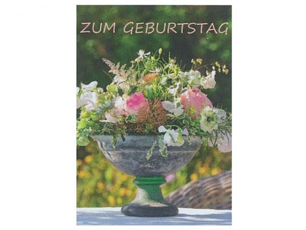 Geburtstagskarte Art Bula 12,2x17,5cm Steinvase mit Blumendeko, mit Text, Doppelkarte mit Fotodruck, mit unbedrucktem Einlageblatt und Couvert