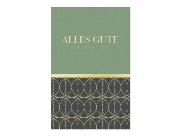 Geburtstagskarte Art Bula 12,2x17,5cm, Champagnergläser, mit Text, Doppelkarte mit Fotodruck und Couvert