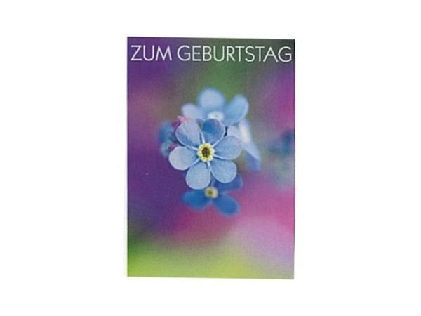 Geburtstagskarte Art Bula 12,2x17,5cm, Vergissmeinnicht,Doppelkarte mit Fotodruck, mit unbedrucktem Einlageblatt und Couvert