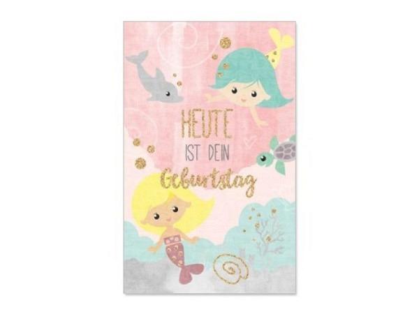 Geburtstagskarte 70 Bobo Card, 12x17cm, weisse Doppelkarte mit Rosen, Geschenken und einer türkisfar