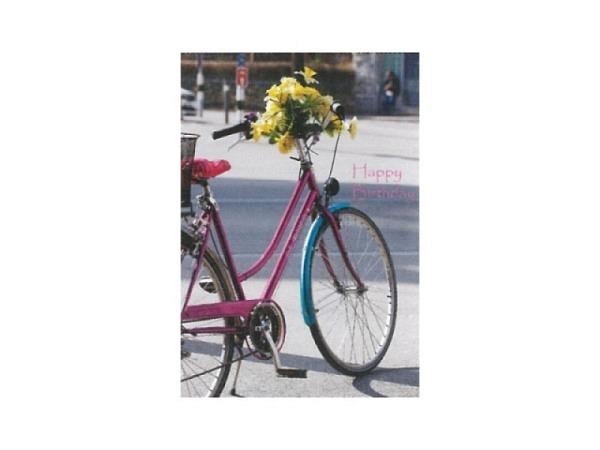 Geburtstagskarte Art Bula 12,2x17,5 mit einem pinken Fahhrad
