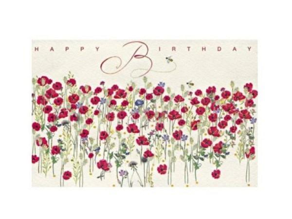 Geburtstagskarte Art Bula 12,2x17,5cm mit rosa Rose mit Text