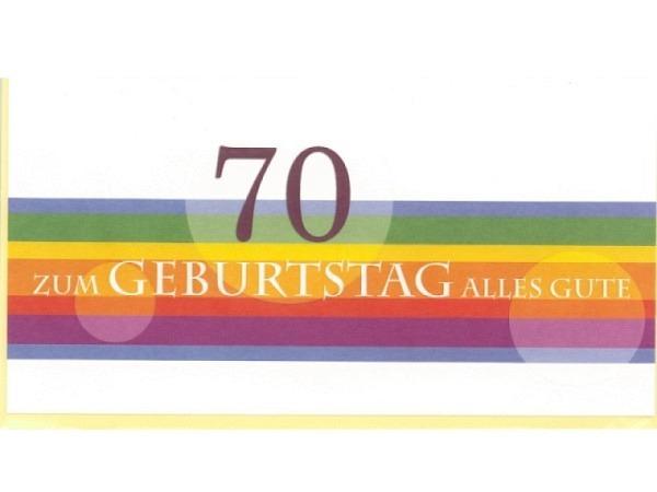 Geburtstagskarte 70 Modern Art Farbstreifen 22,1x11,5cm, weisse Doppelkarte aus strukturiertem Halbk