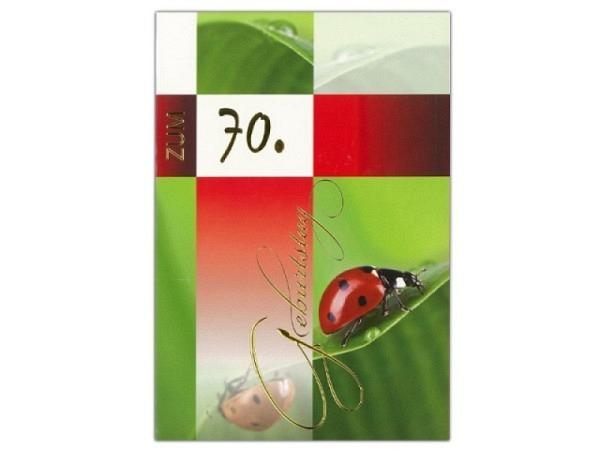 Geburtstagskarte 70 Borer Marienkäfer, 11,5x17cm Marienkäfer