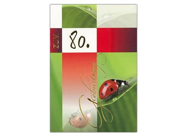 Geburtstagskarte 80 Borer Marienkäfer, 11,5x17cm