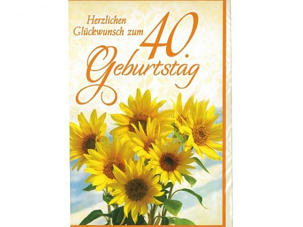 Geburtstagskarte 40 Avan Style Maxi Sonnenblumen A4 21x29,7