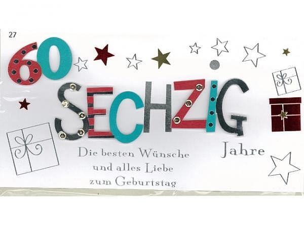 Geburtstagskarte 60 Avan More Geschenk 22x11,5cm