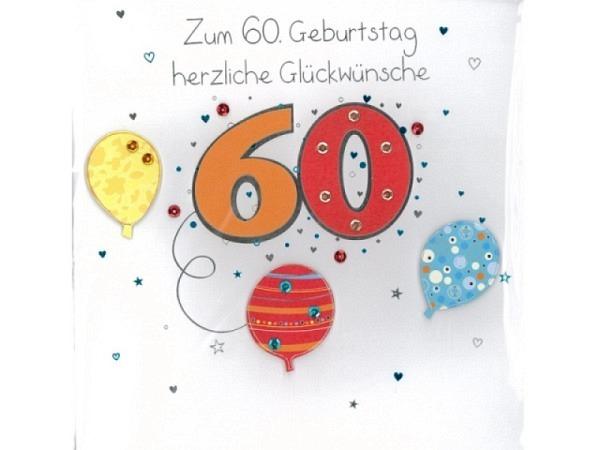 Geburtstagskarte 60 AvanCarte Big Square Luftballons quadr.