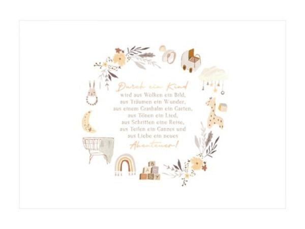 Ereigniskarte Art Bula 12,2x17,5cm,  mit Wichteleltern mit ihrem Wichtelbaby im Kinderwagen, Doppelkarte mit Fotodruck, mit unbedrucktem Einlageblatt und Couvert