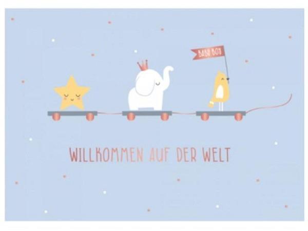 Ereigniskarte Art Bula 12,2x17,5cm, Herzlich Willkommen Babyschüchen rosa