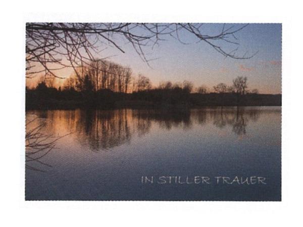 Trauerkarte Art Bula 12,2x17,5cm See bei Abenddämmerung<br>