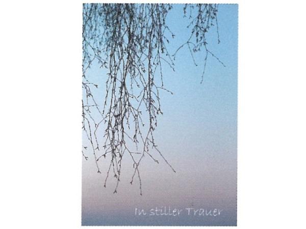 Trauerkarte Art Bula 12,2x17,5cm hängende Äste mit Nebel