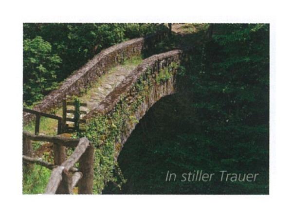Trauerkarte Art Bula 12,2x17,5cm bewachsene Steinbrücke