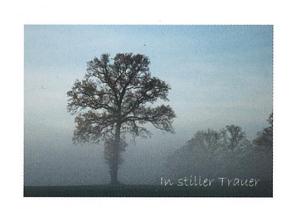 Trauerkarte Art Bula 12,2x17,5cm Baum im Nebel