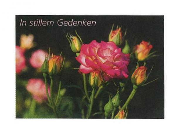 Trauerkarte Art Bula 12,2x17,5cm offene und geschlossene Rose