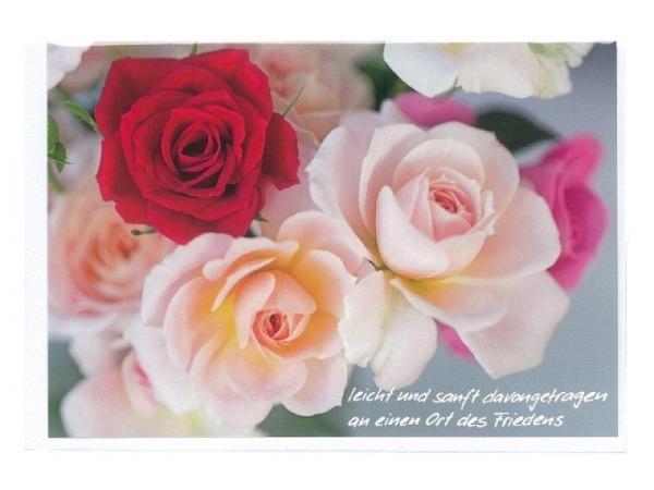 Trauerkarte Art Bula 12,2x17,5cm helle und eine rote Rose, mit Text, Doppelkarte mit Fotodruck, unbedrucktem Einlageblatt und Couvert