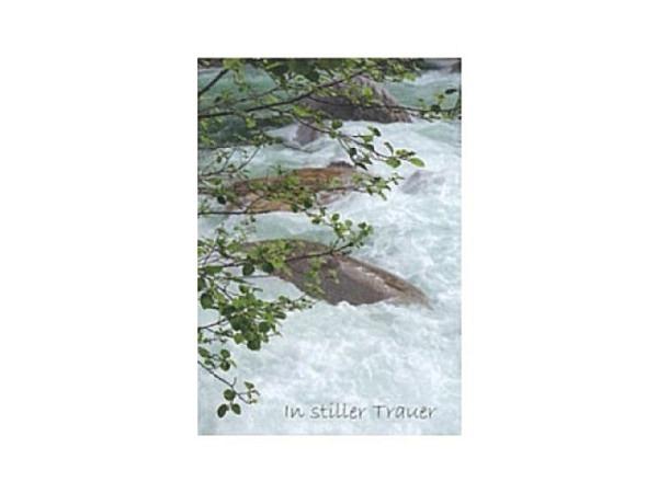 Trauerkarte Art Bula 12,2x17,5cm reissender Fluss und Äste, Doppelkarte mit Fotodruck, unbedrucktem Einlageblatt und Couvert