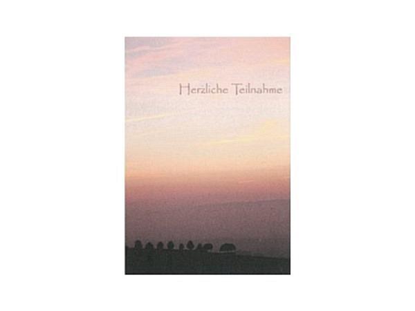 Trauerkarte Art Bula 12,2x17,5cm neblige Abendstimmung, Doppelkarte mit Fotodruck, mit unbedrucktem Einlageblatt und Couvert