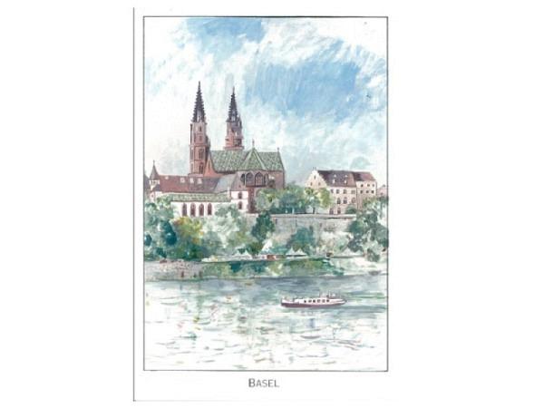 Karte ABC Basel gezeichnet, von Rhein und Münster in Basel