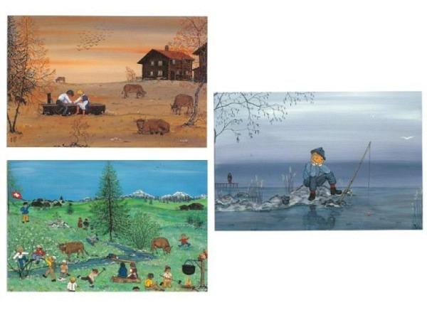 Kartenbox 6er Set mit diversen gemalten Sommerszenen