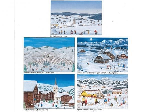 Kartenbox Unicef Christmas in Stripes 11,7x17,3cm 5x2 Motive