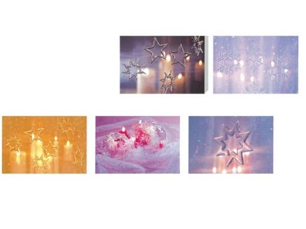 Weihnachtskarte Art Bula 5er Set Glassterne 5 versch. Motive