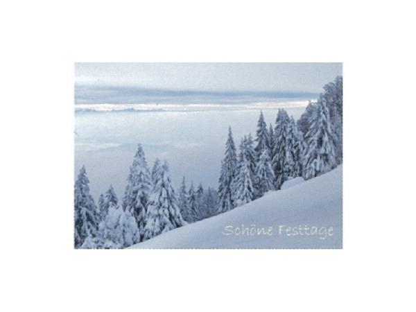Weihnachtskarte Art Bula  verschneiter Tannenwald