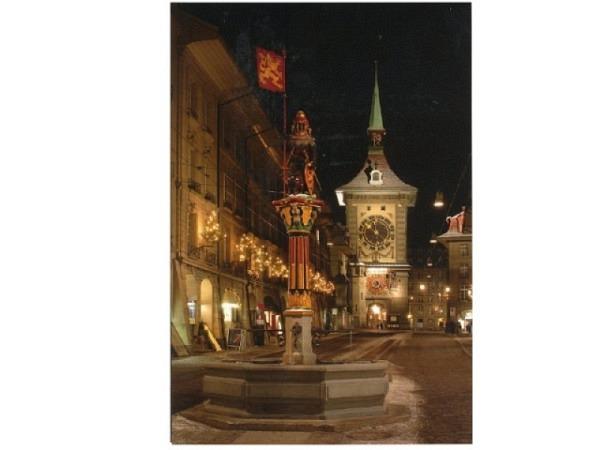 Weihnachtskarte ABC beleuteter Zytgloggeturm