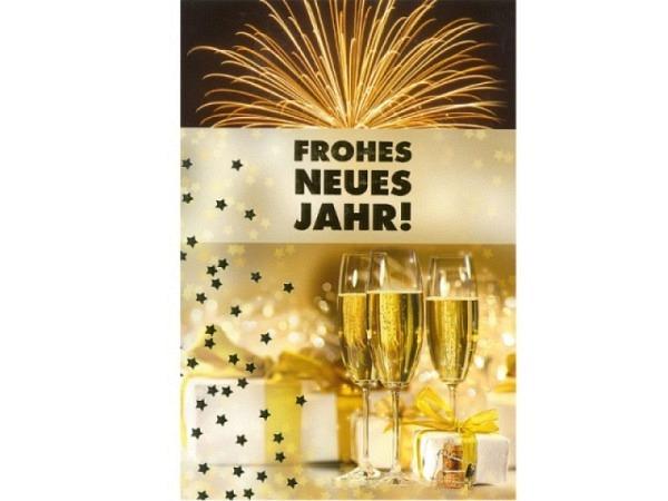 Neujahrskarte ABC Feuerwerk und Champagner