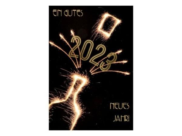 Neujahrskarte ABC Feuerwerk pink französisch