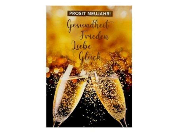 Neujahrskarte ABC Kinder auf Schlitten