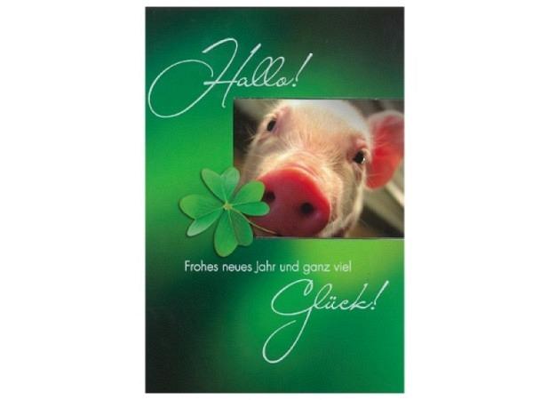 Neujahrskarte ABC Glücksschwein