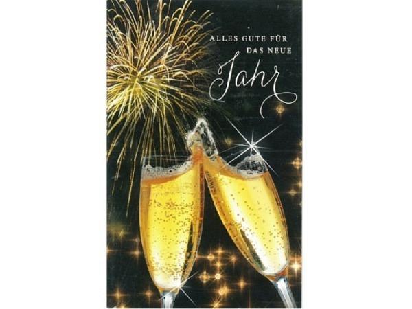 Neujahrskarte ABC Anstossen 5Stk Champagnergläser, Feuerwerk