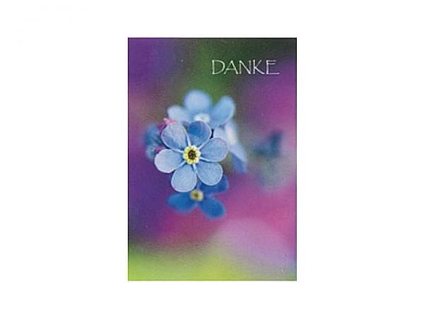 Dankeskarte Art Bula 12,2x17,5cm, Vergissmeinnicht, mit Text, Doppelkarte mit Couvert, ohne Einlageblatt
