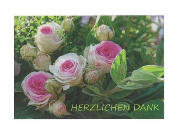Dankeskarte Art Bula 12,2x17,5cm Wildrosen weiss-rosa, Doppelkarte mit Fotodruck, mit Text, mit Couvert und Einlageblatt