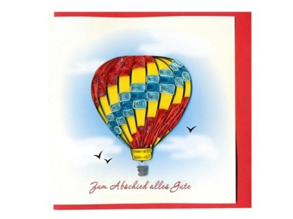 Abschiedskarte Hervorragend Quilling Ballon, 15x15cm