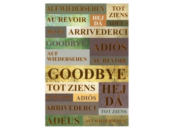 Abschiedskarte ABC Schriftzüge bronze, Auf Wiedersehen