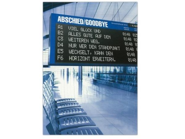 Abschiedskarte ABC Anzeigetafel, 12,5x17,5cm
