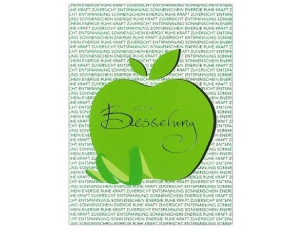 Genesungskarte ABC Apfel Gute Besserung 12,5x17,5cm, weisse Doppelkarte mit einem grossen grünen Apf