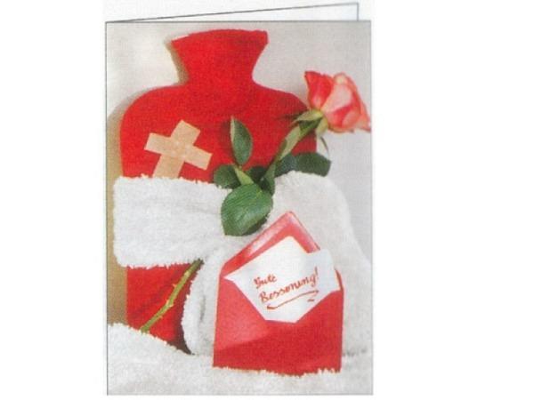 Genesungskarte Gollong Genesung Wärmeflasche, 12x17,1cm, Doppelkarte mit einer roten Wärmeflasche, e
