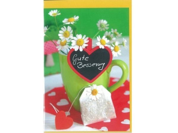 Genesungskarte Gollong Tee bunte Doppelkarte mit Teetasse und Blümchen, mit Text, ohne Einlageblatt,