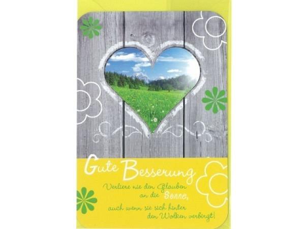 Genesungskarte Gollong Herz 12x17,1cm, Doppelkarte mit einer Tür mit einem Herzförmigen Fenster, inn