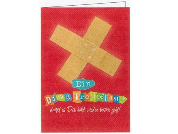 Genesungskarte Gollong Pflaster auf rotem Hintergrund, 12x17,1cm, rote Doppelkarte mit einem Pflaste