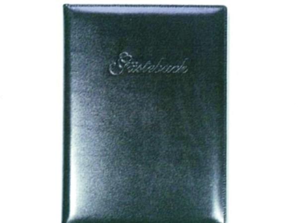 Gästebuch ASL Rindleder Manhattan glatt schwarz 21x30 cm, 96 Blatt naturweiss unliniert, ohne Prägung auf Deckel