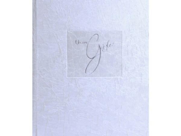 Gästebuch Goldbuch Tsarina, 23x25cm, gebunden, mit weiss-schimmerndem Stoff überzogen, 176 beschreibbare Seiten
