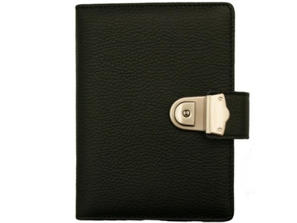 Tagebuch ASL Africa Wildleder schwarz, grob genarbt mit Schloss, 12,5x17cm, ca. 280 unlienierte Seit
