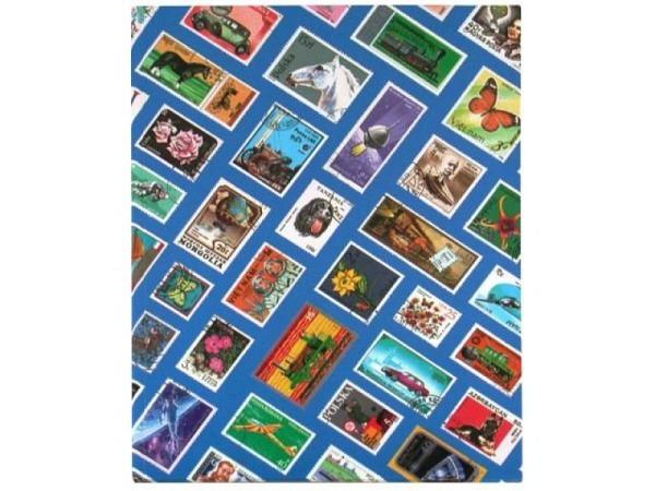Briefmarkenalbum A5 mit Briefmarkenmotiv blau 17x23cm