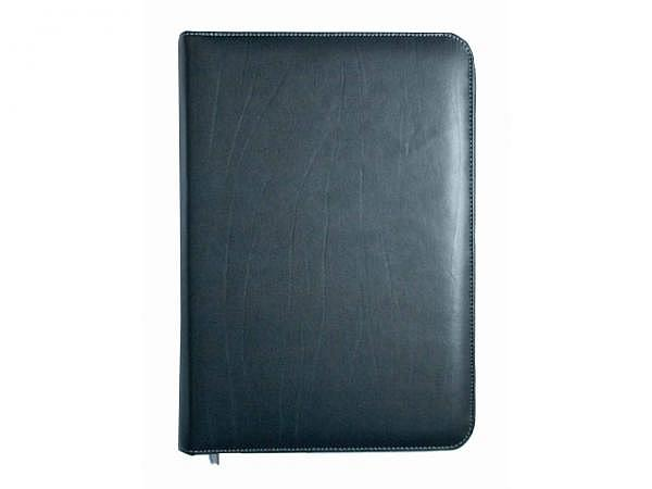 Blockmappe ASL Kabana Rindleder schwarz A4, grauer Naht